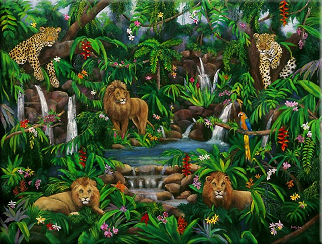 lions, leopards, macaws, monkeys, rain forest, jungle animals, waterfalls