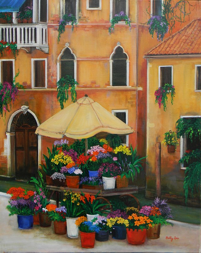 painting of a flower market, a canal. painting of Venice Italy