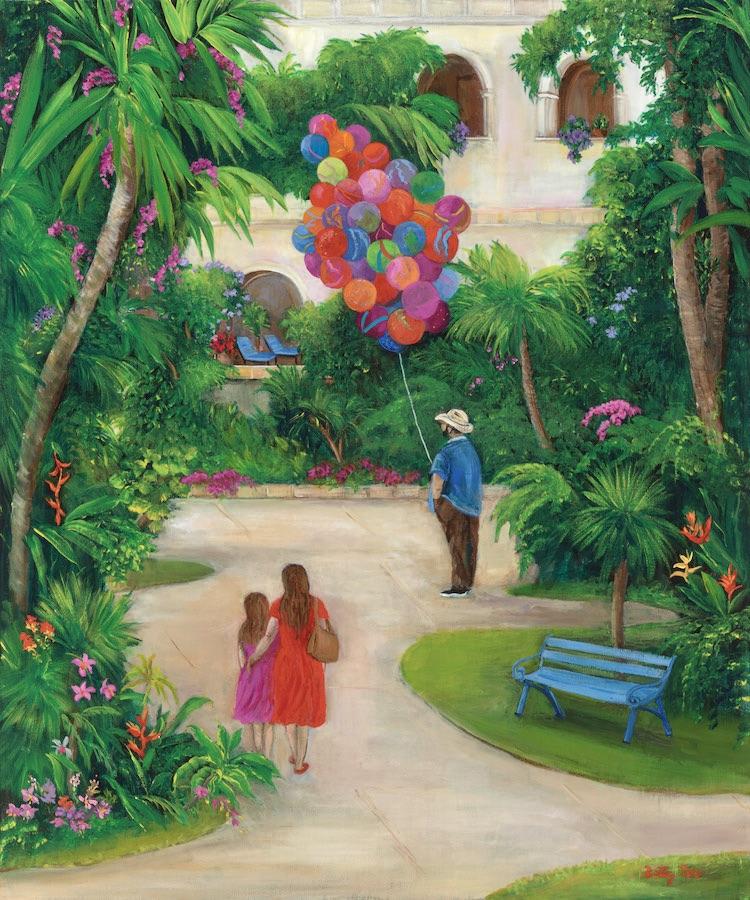 park scene, balloon seller, mexico south america