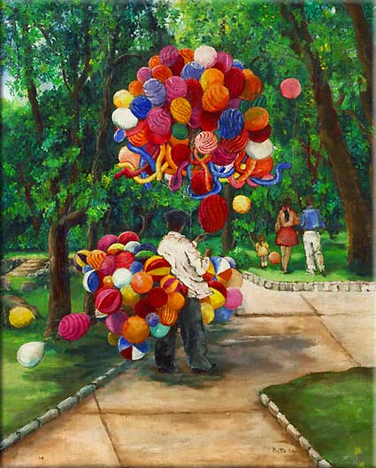 painting of a balloon man, balloon seller,  mexico, balloons, balloon man