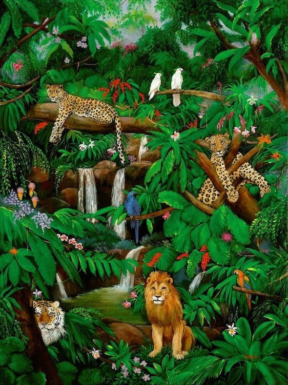 Wild Life painting, leopards, tiger, Tropical Birds