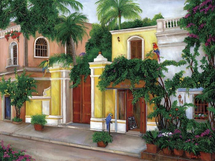 south america, parrots street scene