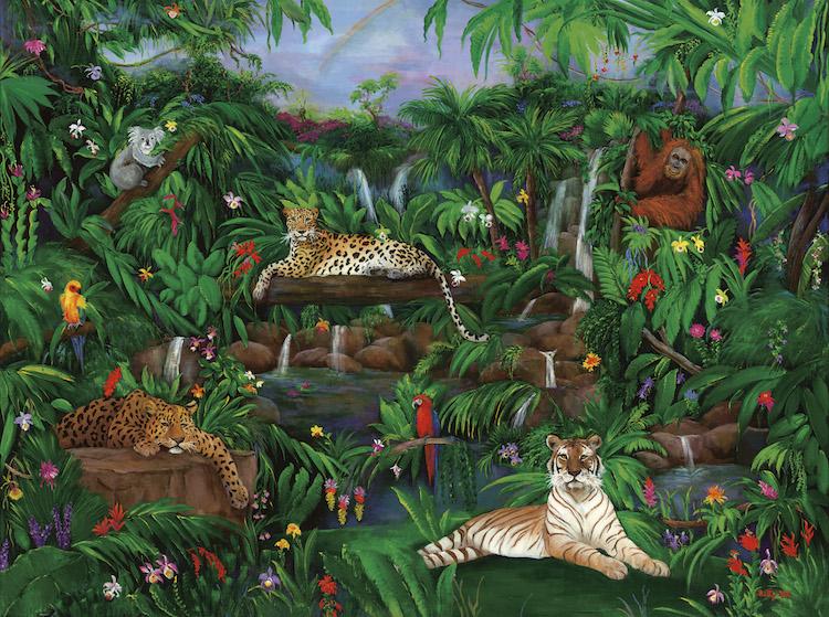 leopards, tiger, wild life painting, jungle, jungle animals