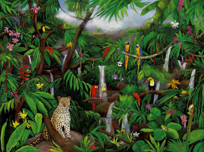 cloud forest, rain forest, leopard, Parrots, jungle animals, wild life painting