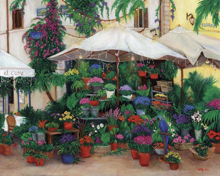 South America, flower Market, cafe blue macaw, flower shop