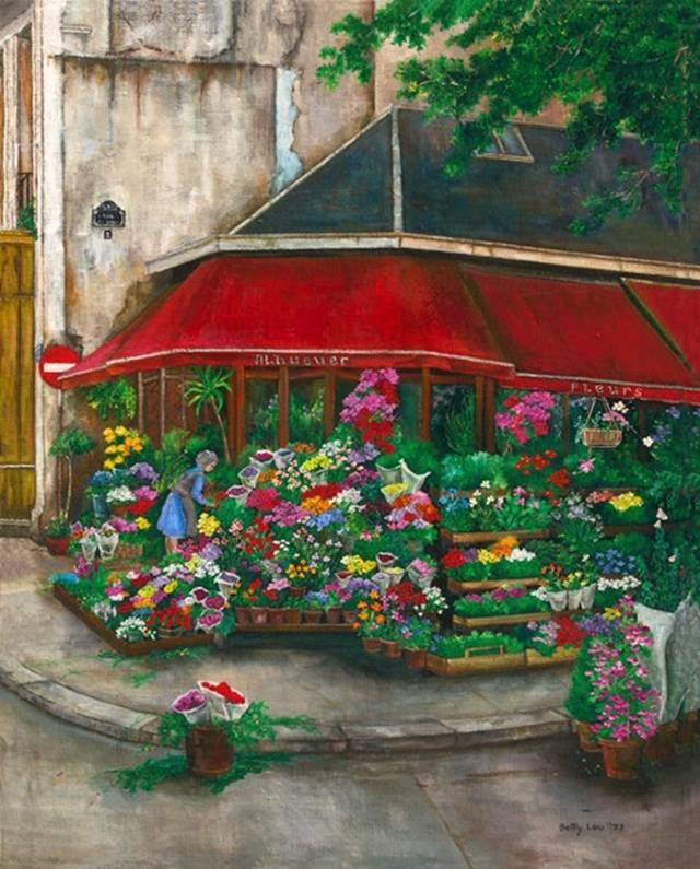 Painting of florist on the left bank of paris france, flower market