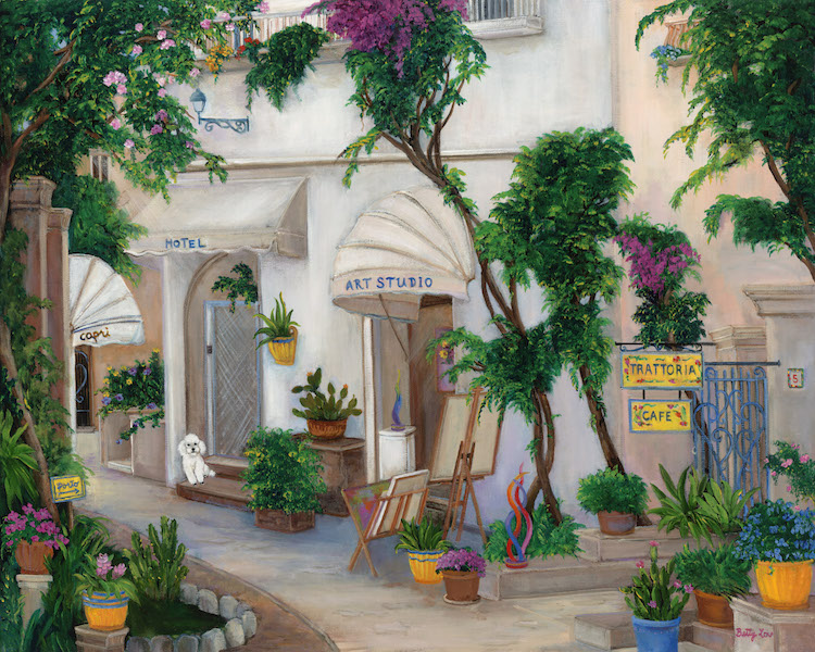 Capri, Italy, Street Scene, poodle, art studio