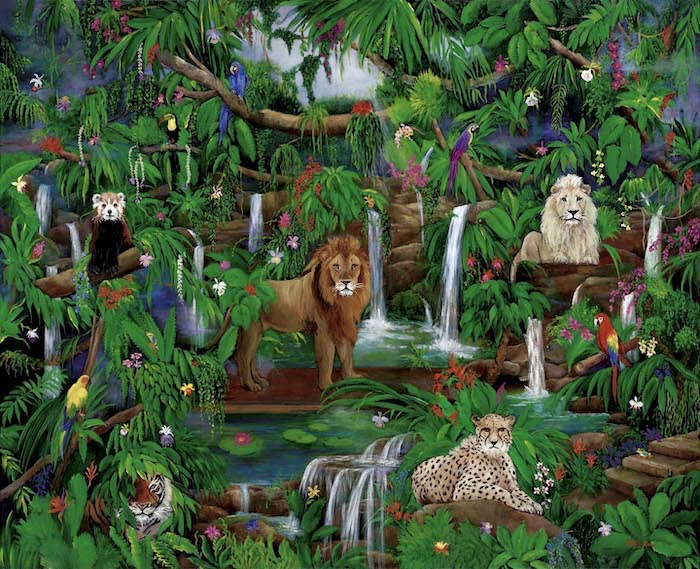 jungle setting, wildlife painting, lions, cheetah, macaws, toucan, waterfalls