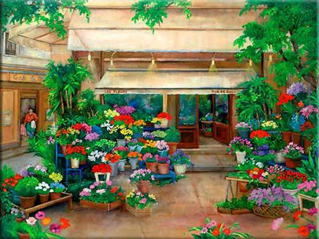 Painting of Paris street with Flower Shop, flower market