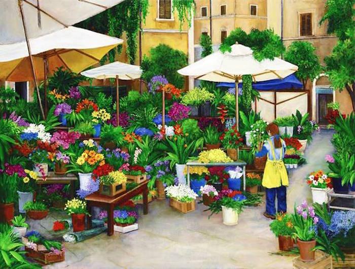 flower market, europe, italy, Rome, Rome flower market