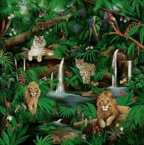 wildlife painting, lion, tigers tropical, waterfalls, jungles