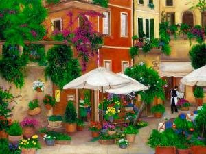 cinque Terre, Italy, flower seller, cafe, Europe, street scene