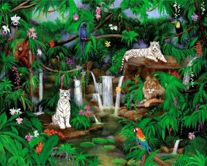 white tigers, lion, jungle, rain forest, waterfalls, jungle animals