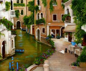 venice, canals, italy, cafe, poodles