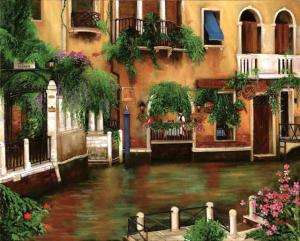 Venice Canal Painting with hanging greens, flowers from balconies, Italy