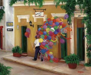 Balloons, Balloon Seller, Street Scene, South America