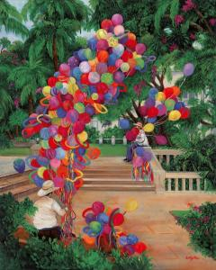 Balloon seller, Balloons, Mexico Park scene, balloon men