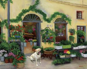 Pets in painting, flower shop, pets, dogs