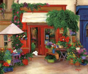 flower shop, europe, poodle