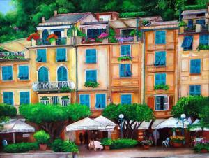 Painting of the harbor Portofinio Italy. Painting of waterfront cafes, buildings