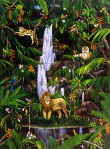 waterfall, jungle, rain forest, lion, leopard, tiger, jungle animals