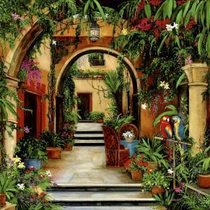 Mexic, hacienda, mexican courtyard, parrots