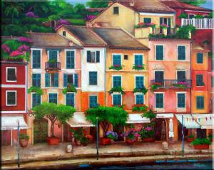 Painting of the harbor Portofino Italy. painting of colorful buildings