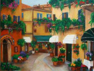 Painting  street northern Italy. Painting of shops hanging greens, flowers