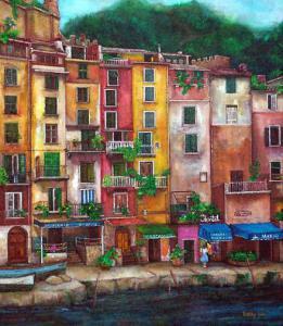 Artwork of Italian seaside harbor