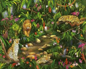 Jungle Painting, Painting of Leopards, Jaguar, Lion by a Lagoon