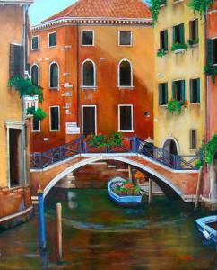 Painting of Venice Canal, bridge, boat colorful buildings