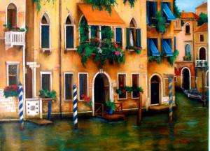 Venice italy canal Painting, flowers on a canal