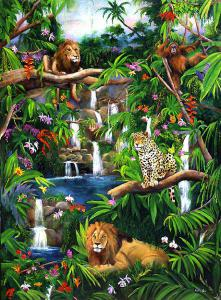 Wildlife painting, painting of lions, tropical birds, orangutang and a leopard