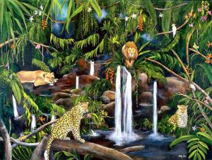 Painting of Wilflife with waterfalls, lion, Jaguar. Paintingof leopards