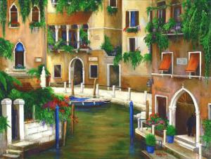 painting of a Hotel on the Canal Venice Italy.  Hanging greens. venice canal
