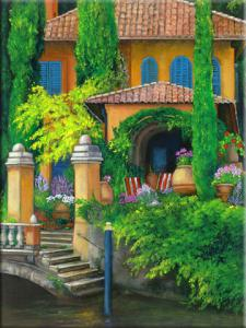 Painting of an Italian Villa, a canal Painting of italian garden