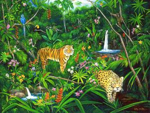 A Jungle, Rainforest painting,tiger,  leopard, jungle animals with waterfall