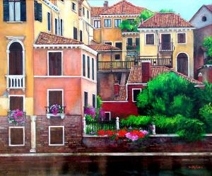 Painting grand canal Venice Italy with a garden