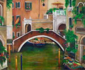 painting of a canal in Venice Italy, bridge market boat