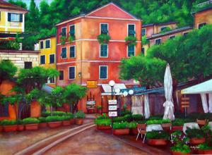 Painting of Portifino Italy. Painting of Italian outdoor Resturants