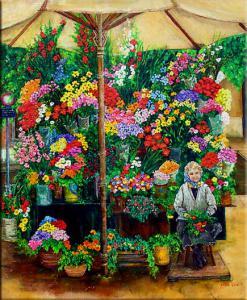 Painting of flower seller,  Rome, Italy,  market umbrella, flower market