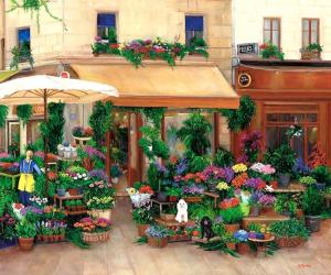 flower market, france, poodles, street scene