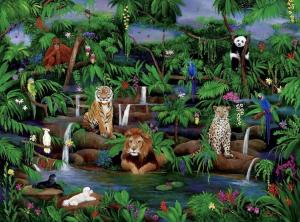 Jungle, wildlife, lion, orangutans, cheetah, poodles, tropical birds