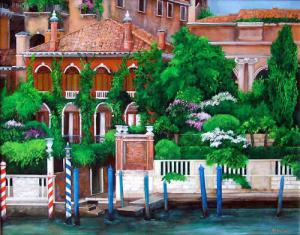 Venice italy grand canal Painting, gardens on the canal in Venice Italy