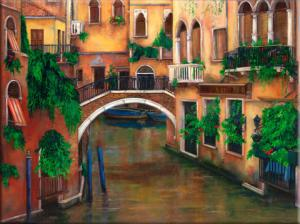 Painting of Venice Italy, Painting of a Trattoria and bridge, Venice canal