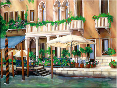 Painting of Venice, Painting of a building on a Canal