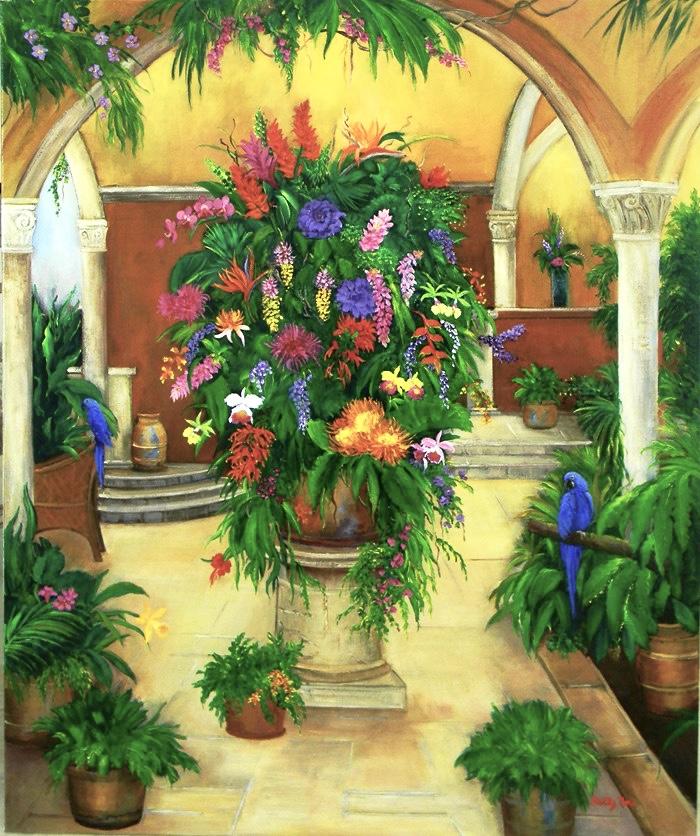 south america, floral, parrots