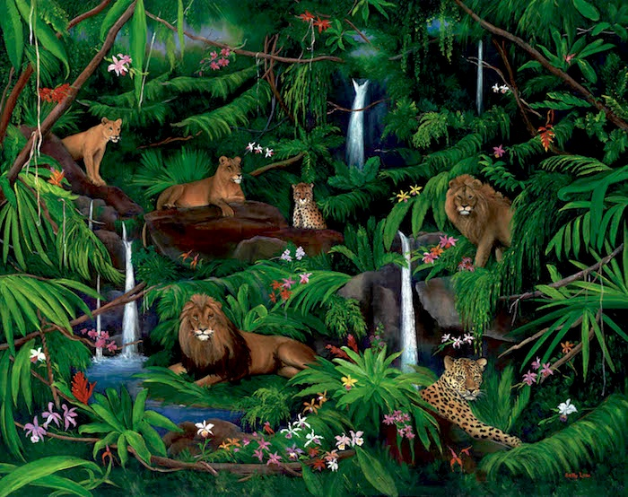 rain forest, waterfall, lions, jungle animals, cloud forest