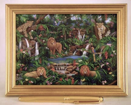 lions,  small giclee, rain forest, jungle, leopard