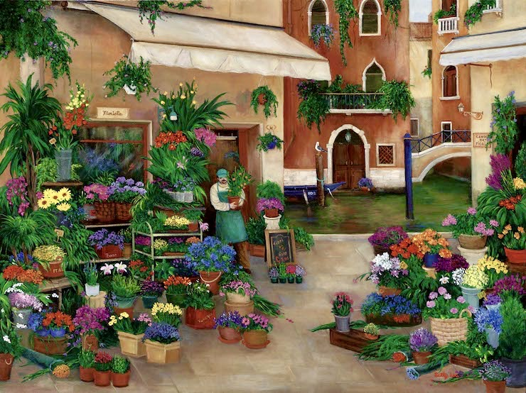 Venice Canal, Italy, venice, canals, flower shops